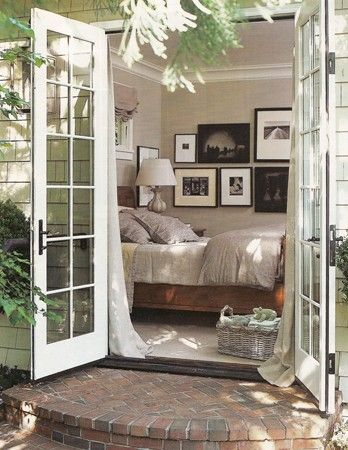 Bedroom with French doors. make it a day bed and this would be a great idea for the backroom.