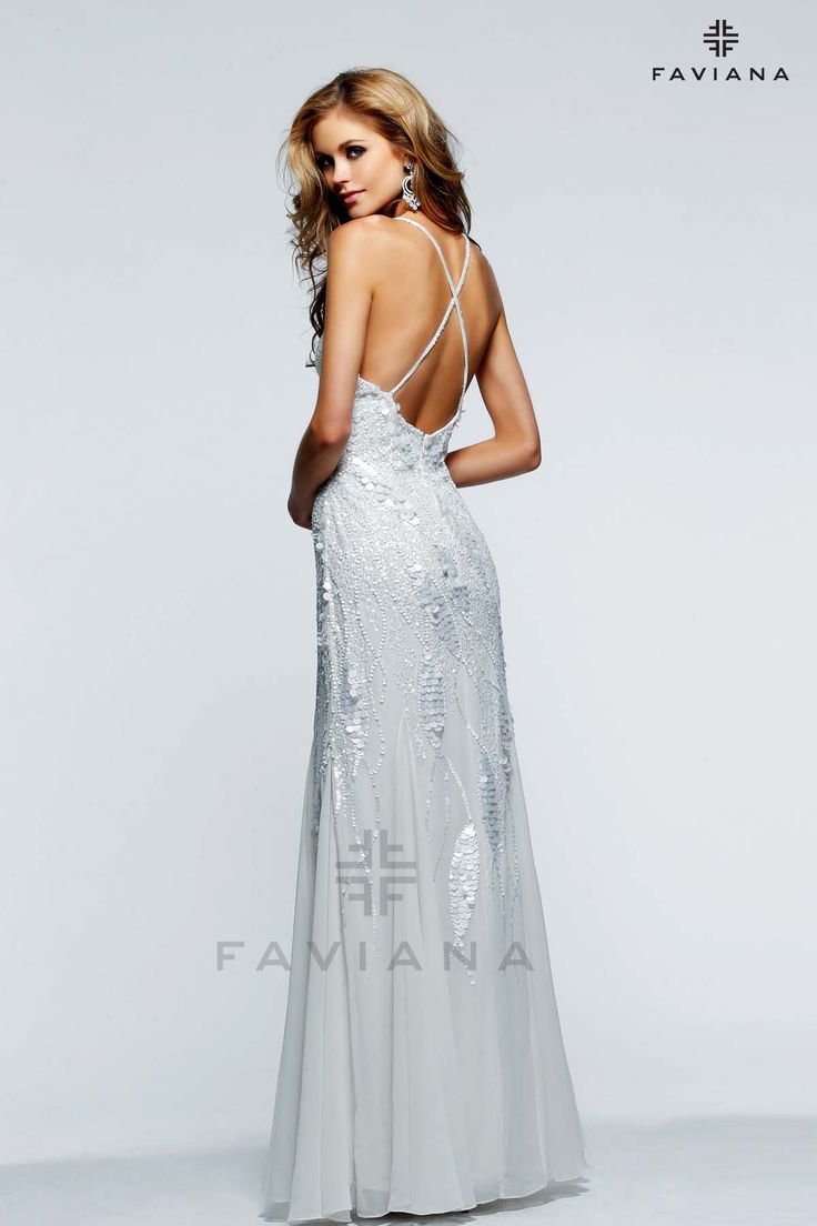 The criss cross back on this dress is one of our favorites from Faviana!