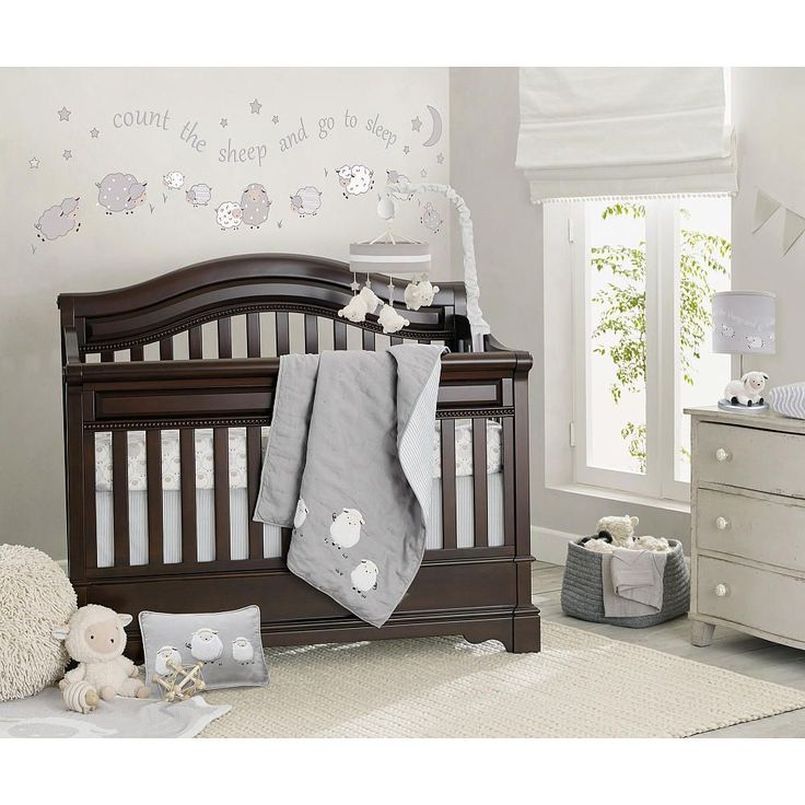 """Lambs & Ivy's Signature Collections are the upscale lifestyle brand designed exclusively for Babies R Us.  This stunning collection is offered in soft gray linen.  A wonderful contemporary collection mixes a classic favorite character in a new design that will make a wonderful statement in your little one's nursery.  The bedding set includes one comforter, two fitted sheets and one 16"""" dust ruffle.  The comforter is enhanced with appliqued, sweet, white furry sheep.   100% c..."""