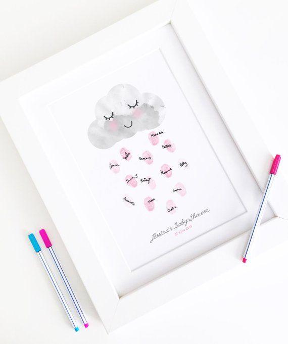 Personalised Baby Shower Fingerprint Guest Book – Happy Little Rain Cloud – Nursery Decor Print – A4 Size