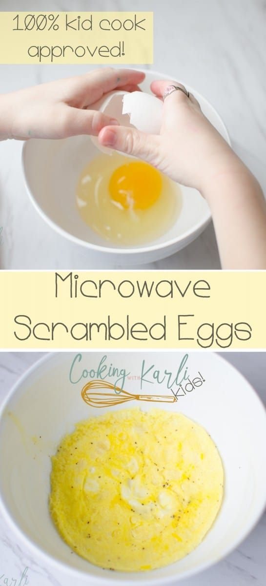 Microwave Scrambled Eggs are the perfect first food to teach your child to make themselves! These are fast, easy and has minimal cleanup!