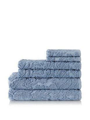 Chortex 6-Piece Baroque Bath Towel Set (Dusky Blue)