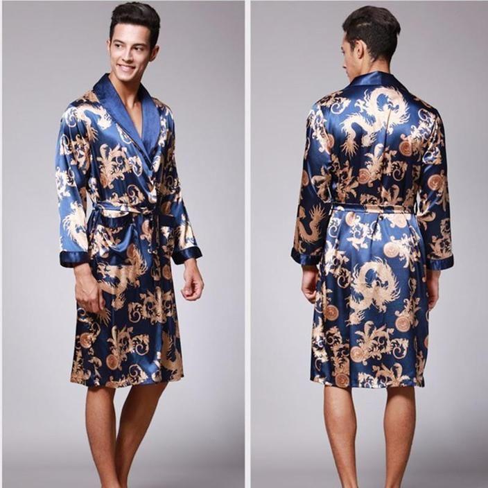 Spring Summer New Luxury Print Silk Robe Male Bathrobe Mens Kimono Epicworldstore Com Male Kimono Silk Dressing Gown Mens Dressing Gown