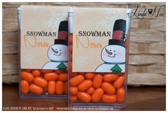 Tic Tac Snowman Noses - Printable tic tac labels that you attach to a pack of tic tacs! They make perfect Christmas or Winter Holiday gifts.