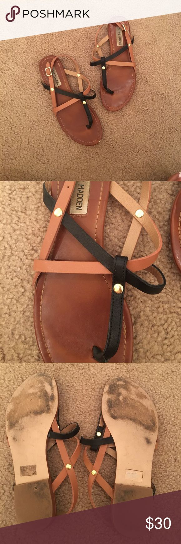 Steve Madden Leather Strappy Sandals Tan and black mixed straps. Slightly worn! Slight scuffs on toe edge, you can see it in pictures. Other than that, looks new! Super cute criss cross. Steve Madden Shoes Sandals