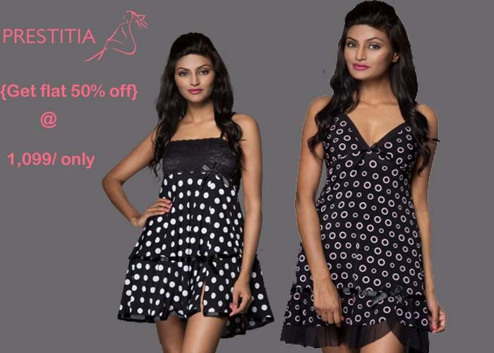 Sleep like a queen and grace with this sensual short night dress. With geo   prints. http://www.prestitia.co.in/products/night-wear.html