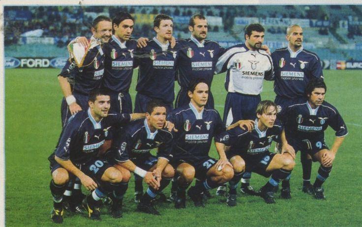 Lazio squad 2000/01, Top, left to right: Sinisa Mihajlovic, Alessansdro Nesta, Paolo Negro, Giuseppe Pancaro, Angelo Peruzzi, Juan Sebastian Veron ,  Bottom, left to right: Dejan Stankovic, Diego Simeone, Simone Inzaghi, Pavel Nedved, Marcelo Salas