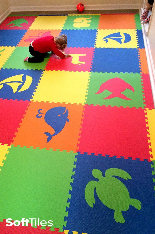 Floor mats for kids - Create Beautiful Kids Playroom Floors Using Softtiles Die Cut Foam Mats Choose The Colors