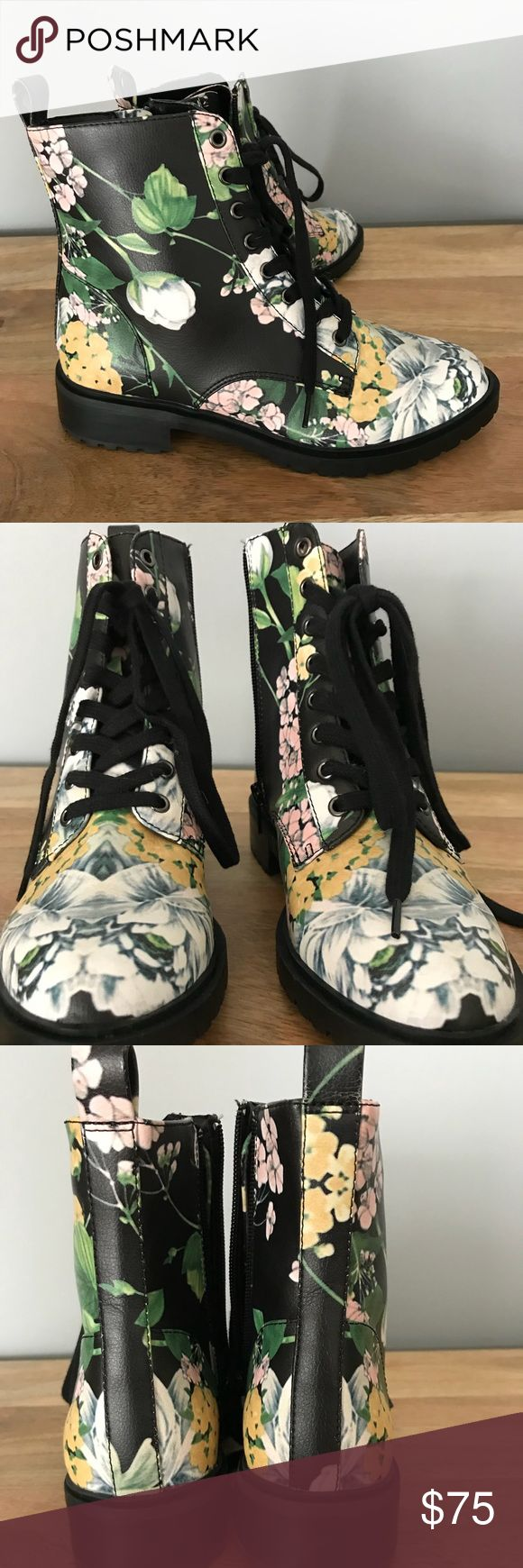 Steve Madden Floral Combat Boot, Size 6.5 Brand new, never worn Steve Madden floral combat boot. I bought the wrong size when on vacation or else I would keep them. Very cute! Steve Madden Shoes Combat & Moto Boots