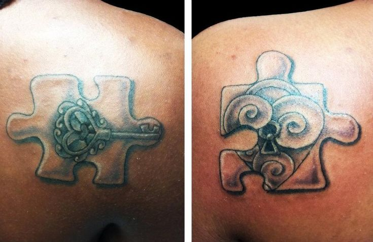 puzzle pieces tattoos with cheata print  | Lock + Key Puzzle Pieces by *3rdEyeDreams on deviantART