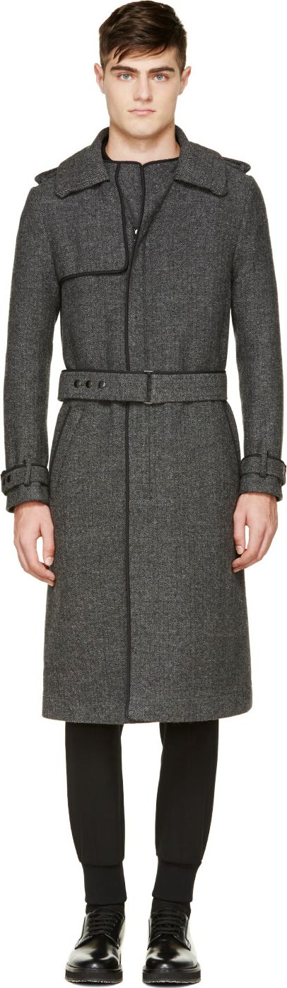 Lanvin - Dark Grey Tweed Long Overcoat