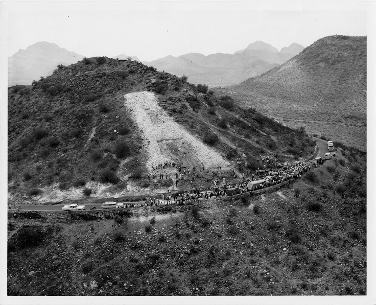 'A' Mountain 1958.  Image provided by - Special Collections, The University of Arizona Libraries, University of Arizona Photograph Collection.