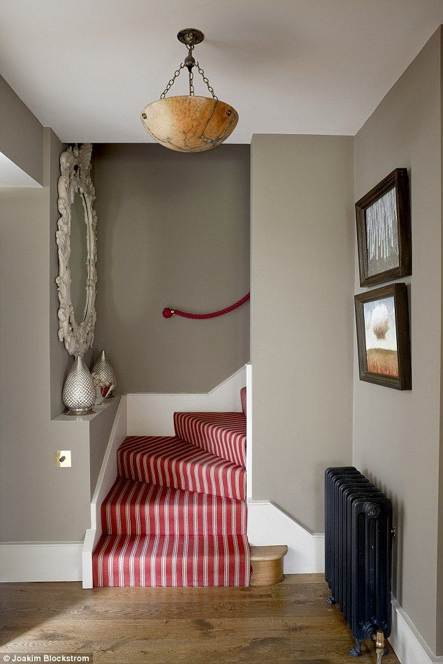The plush stair runner is from Sinclair Till (sinclairtill.co.uk). The antique ceiling lig...