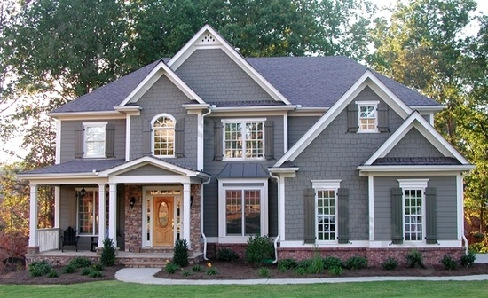 Gray paint, white trim, black shutters. Would also look great with Charcoal shutters.