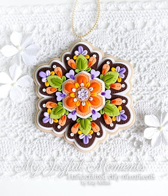 Handcrafted Polymer Clay Snowflake Medallion Ornament