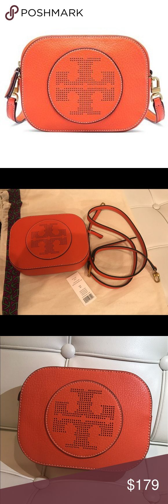 "NWT Tory Burch Perforated logo Round Crossbody. NWT Tory Burch Perforated Round Crossbody with iconic double 'T': Made of pebbled leather, the mini shape is detailed with a secure zipper closure and an adjustable strap. Comes with Dustbag. DETAILS & FIT Holds a mini wallet and an iPhone 6 Plus Pebbled leather Zipper closure Adjustable cross-body strap with 23.31"" (58.5 cm) drop 1 interior slit pocket Height: 4.98"" (12.5 cm) Length: 6.57"" (16.5 cm) Depth: 1.99"" (5 cm) 🚫No Trades🚫 Price…"