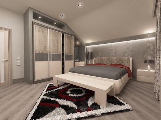 частный дом спальня на мансарде. Спальня
