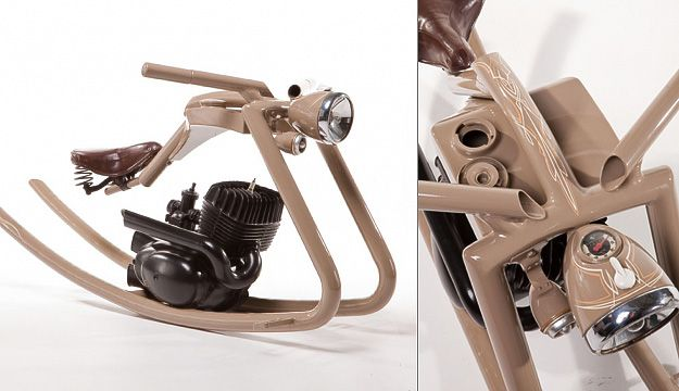 Rocking horse made out of old motorycle parts = way awesome