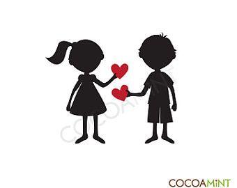 Los niños de San Valentín de silueta Clip Art