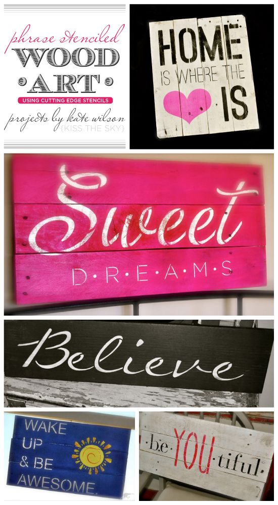 Phrase Stenciled Reclaimed Wood Art
