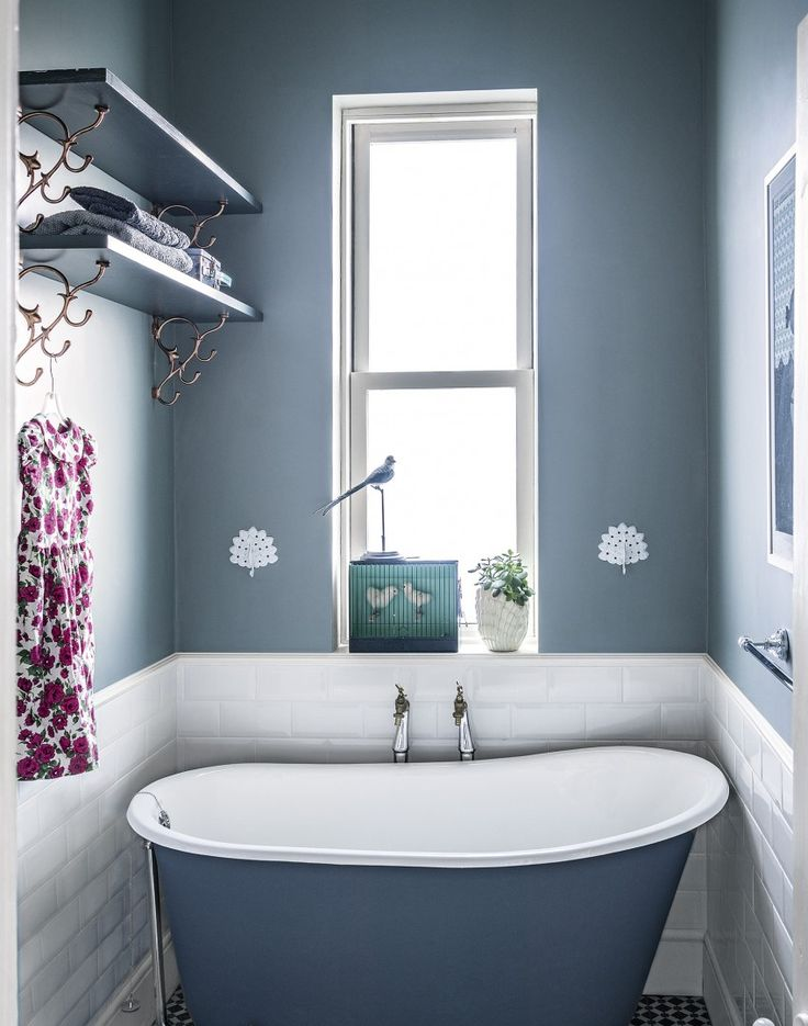 Modern Blue Bathroom with Painted Bathtub