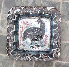 """Guinea fowl"" ceramic platter by Mark Hearld"
