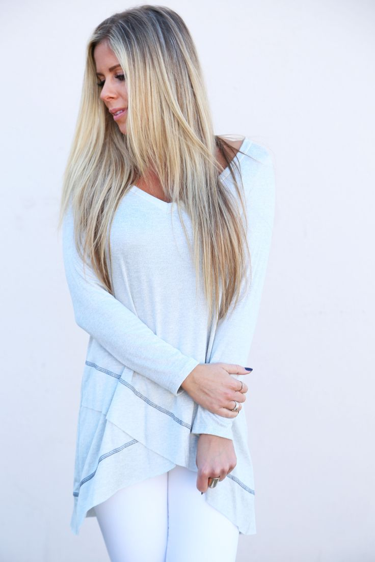 Criss Cross Heather Gray Tunic