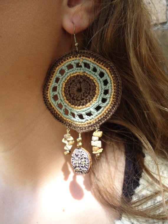 Whispering Woods crochet earrings by HorizonsEd3e on Etsy