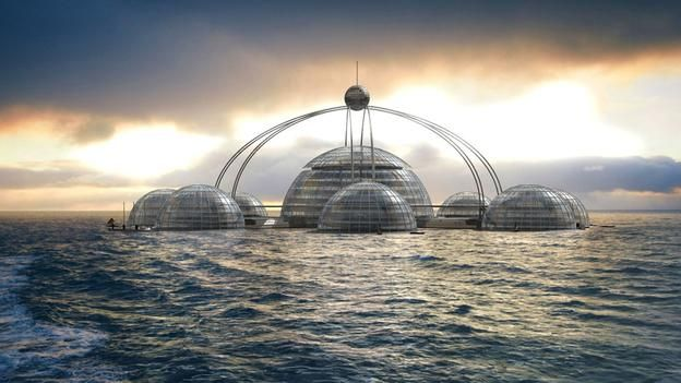 Floating concept -  British designer Phil Pauley's concept is of floating modules that can be rest on the surface in good weather – and submerge when conditions worsen: Phil Pauley/Pauley
