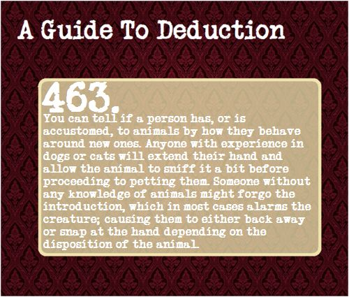 A Guide to Deduction (I always allow animals to smell my hand before I pet them. I have noticed that my younger friend who is 11 often just goes for the pet. She has many animals, whereas I do not, but my mother has pet sitting jobs and I often take care of them.)