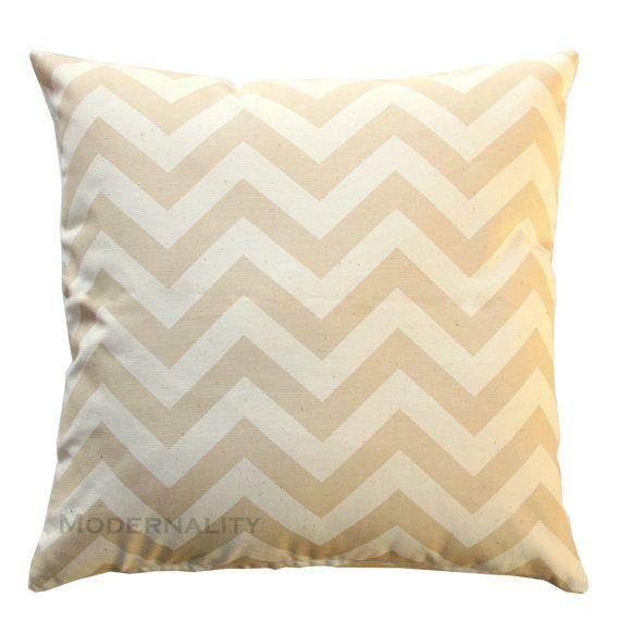 Decorative Throw Pillows- Premier Prints Khaki Chevron Pillow Cover- All Sizes- Zippered Pillow- Beige Cushion Cover- Zig Zag Home Decor