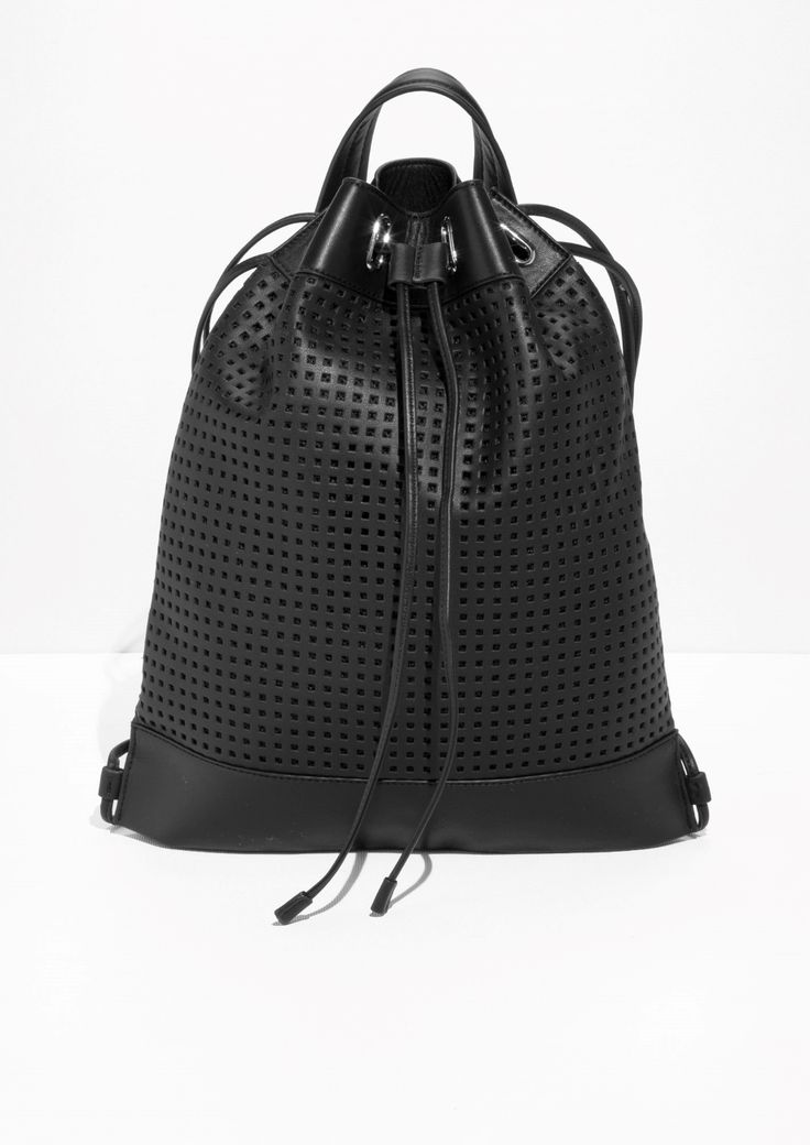 perforated leather backpack black