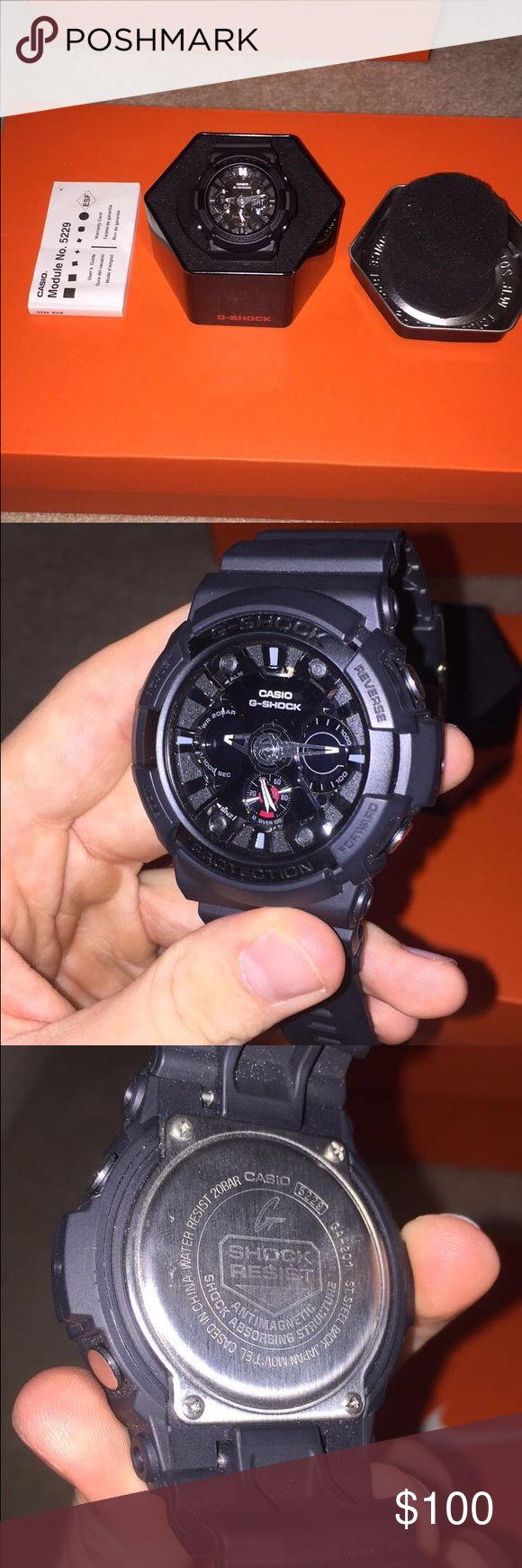 Black G-Shock for sale Wazup guys! I'm putting my black, Casio G-Shock up for sale. I've had this watch for about two years and I've worn it occasionally from time to time and It's in great condition! There are no marks on the face or band of the watch.                    - Watch Specs: Water Resistant (up to 200m), Tells water depth, Stopwatch, Digital time of day, Analog time of day, Day of the week, LED light (yellow), Count down timer                             Please leave a comment if…