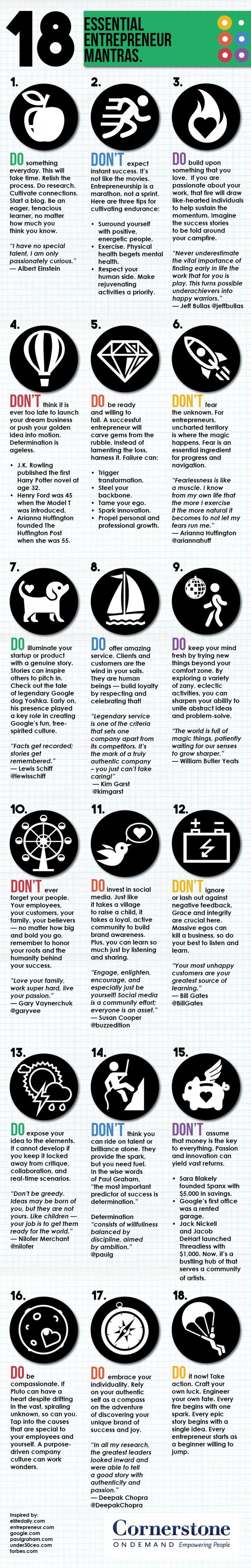 18 Essential Entrepreneur Mantras Infographic. Enjoy RushWorld Boards,  PSST... YOU MIGHT