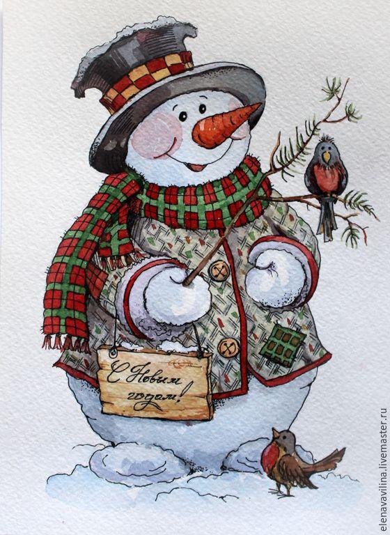 Купить или заказать Новогодний снеговик в интернет магазине на Ярмарке Мастеров. С доставкой по России и СНГ. Срок изготовления: две недели. Материалы: акварель, акварельная бумага. Размер: 15см х 20 см