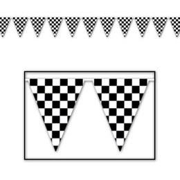 Vlaggenlijn Finish vlag -  Een vlaggenlijn bedrukt met zwart witte blokjes, zoals een finish vlag. Leuk voor een sport evenement, kinderfeest of gewoon als decoratie in een kinder of tiener slaapkamer.