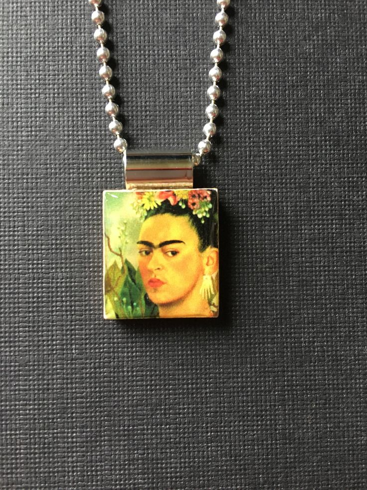 Frida Kahlo Handmade Pendant, recycled scrabble tile jewelry, Frida Kahlo Mexican artist jewelry, Cinco de Mayo jewelry, self portrait by InSmallPackages on Etsy