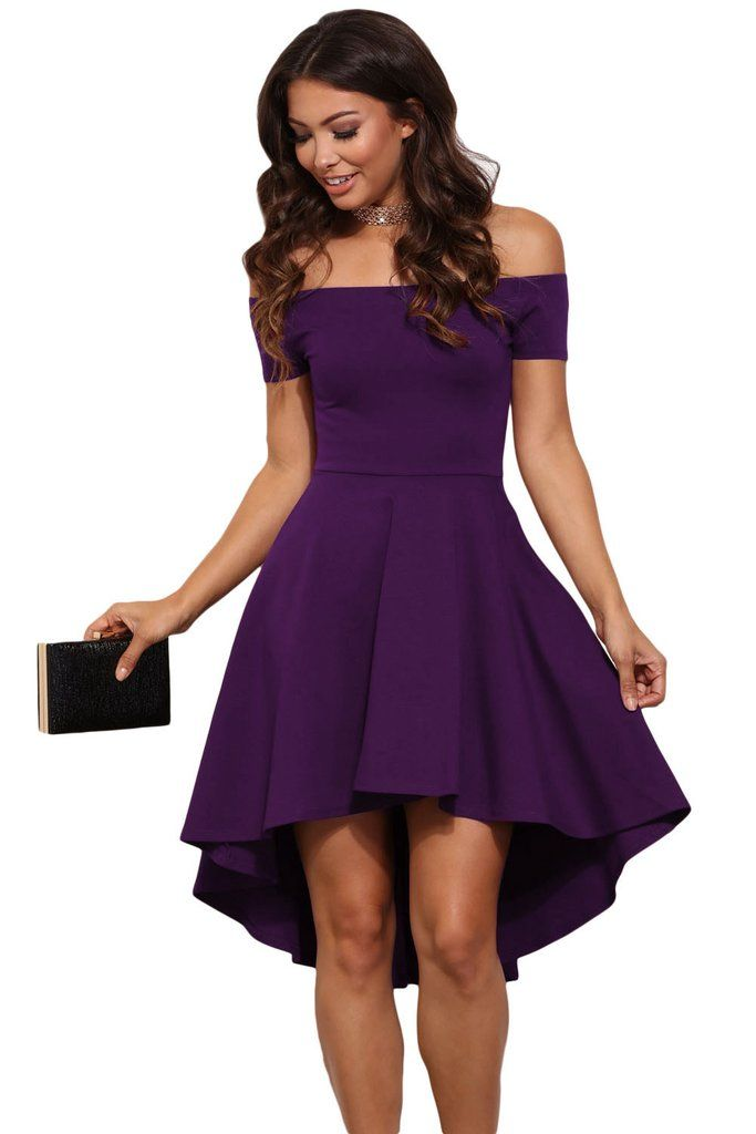 Purple All The Rage Off Shoulder High Low Cocktail Party Skater Dress MB61346-8 – ModeShe.com