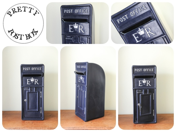 Our Navy Blue Royal Mail Style Post Box With Silver Lettering