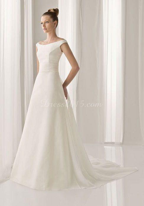 Off-the-shoulder Cap Sleeve Zipper Back Wedding Dress  $269  Dress 2015.com
