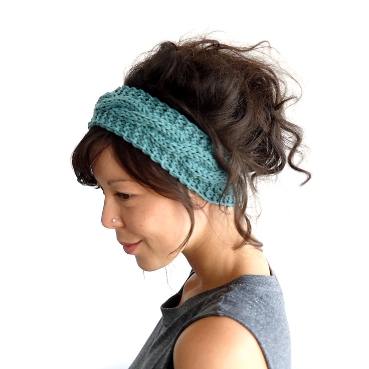 Cable Knit Headband in Sage 100% Merino Wool. £18.00, via Etsy.
