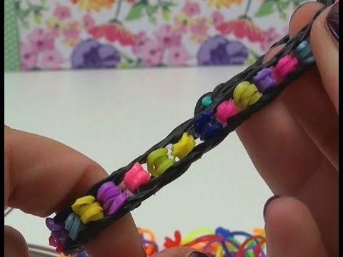 DIY Loom Bands mit Perlen Anleitung mit GABEL - Armband mit falschen Perlen rainbow pearl bracelet - YouTube