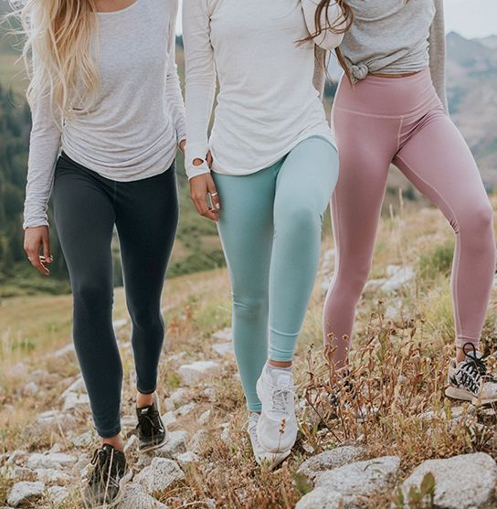 the softest leggings you'll ever wear! introducing our comfortable, slimming, high waisted {Go Soft Leggings in Granite, Millcreek Blue & Rosewood} - also pictured are our {Oatmeal, Ivory & Oatmeal Go Long Crews} | @albionfit