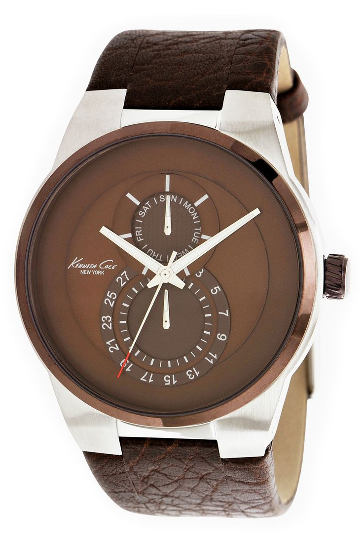 #KennethCole Men's Round Stainless Steel & Brown #Watch
