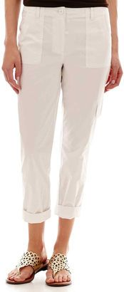 LIZ CLAIBORNE Liz Claiborne Poplin Cargo Cropped Pants - Shop for women's Pants - White Pants