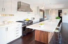 weiße küchen umgestalten tisch insel spüle arbeitsplatte