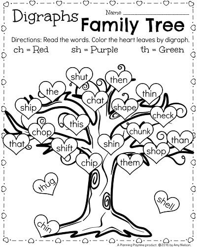 1st Grade reading Worksheets for February - Digraphs Family Tree. Color by digraph with a Valentine's theme. So cute!