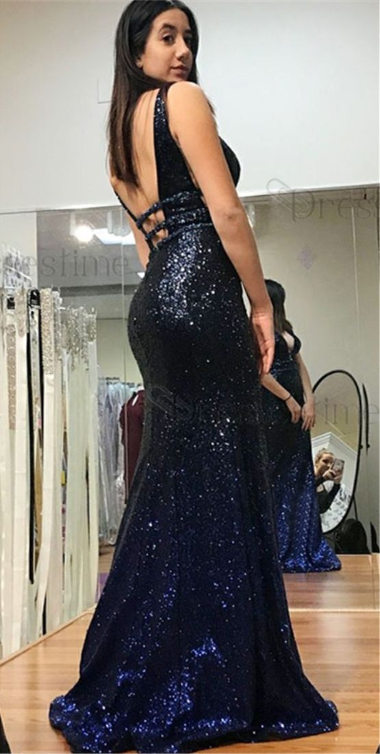 8b063d8c7f Mermaid V-Neck Sweep Train Ombre Color Sequined Prom Dress