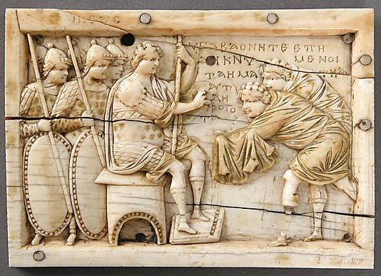 Plaque with Scenes from the Story of Joshua,made in Constantinople.  Byzantine,ivory,gilding,bone and traces of polychromy.: