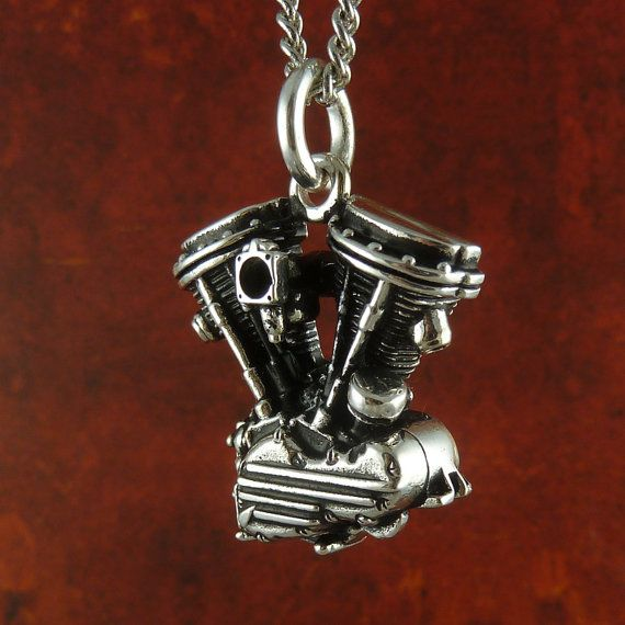 "Motorcycle Engine Necklace Antique Silver Harley Davidson Panhead V Twin Pendant on 24"" Antique Silver Chain"